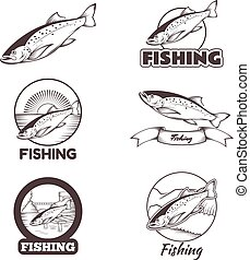 Set of trout banners - Vector image of set of black and...