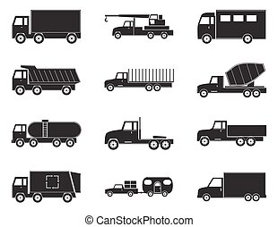 Set of truck black icons