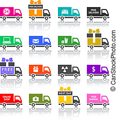 Set of truck colored icons