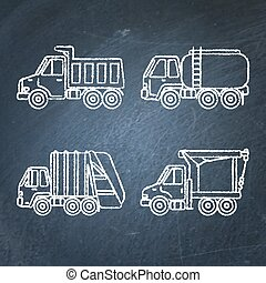 Set of truck icons sketches on chalkboard