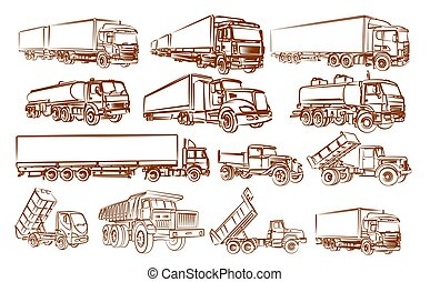 Set of truck sketch.