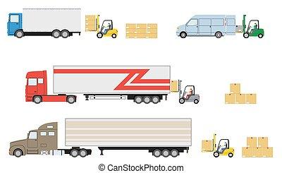 Set of truck with forklift loader.