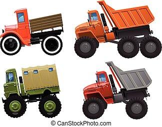 set of trucks - vector illustration of trucks set in comics ...