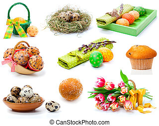 set of tulips, painted easter eggs, muffins and Quail eggs. on a white background