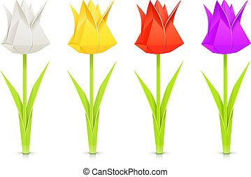 set of tulips paper origami flowers
