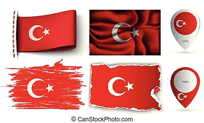 set of turkey flags collection isolated