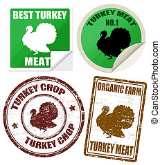 Set of turkey meat labels and stamps on white, vector...