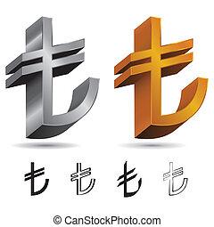 Set of Turkish Lira Signs