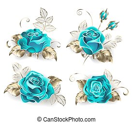 Set of turquoise roses, with leaves of white gold on a white...