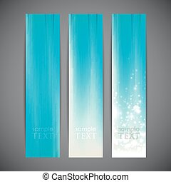 set of turquoise striped banners