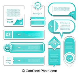 Set of turquoise vector progress, version, step icons. eps 10