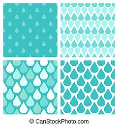 Set of turquoise vector water drops seamless patterns