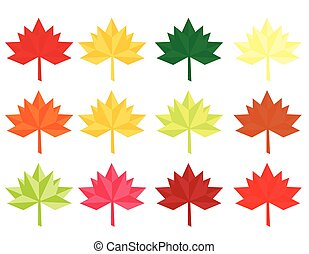 Set of twelve Abstract Leaves