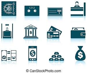 Set of twelve bank icons