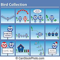 Set of twelve bird related comical graphics