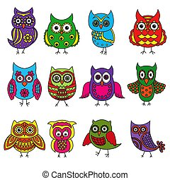 Set of twelve cartoon owls with various patterns