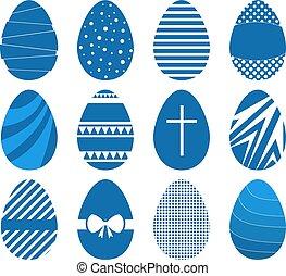 Set of twelve easter eggs in flat geometric style