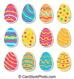 Set of twelve easter eggs isolated on white