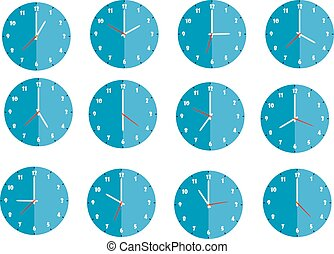 Set of twelve flat blue round design wall clocks isolated on white background, from one to twelve
