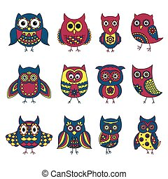 Set of twelve funny owls with various patterns
