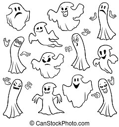 Set of twelve ghost outline with various characters isolated on a white background, cartoon Halloween vector illustration