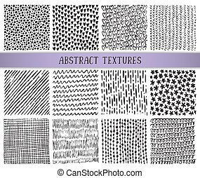 Set of twelve hand drawn ink abstract textures.