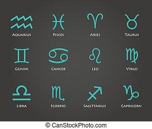 Set of twelve horoscope zodiac signs