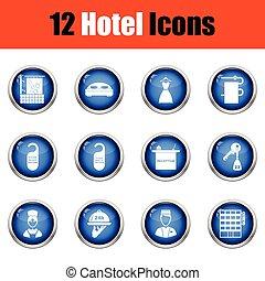 Set of twelve hotel icons.