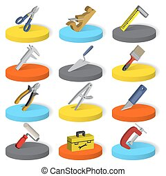 Set of twelve industrial, construction, paint tools in isometric style, isolated on a white background.