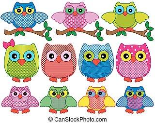Set of twelve ornamental cartoon owls - Set of twelve...
