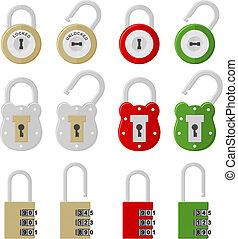 twelve padlock - set of twelve padlock, isolated on white