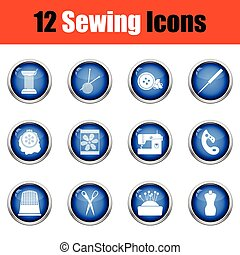 Set of twelve sewing icons.