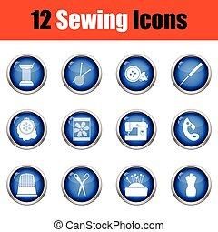 Set of twelve sewing icons.