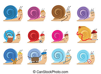set of twelve snail characters, different jobs