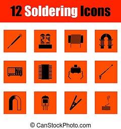 Set of twelve soldering icons