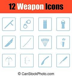 Set of twelve weapon icons. Blue frame design. Vector...