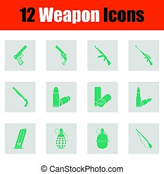 Set of twelve weapon icons. Green on gray design. Vector...