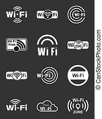 Set of twelve wifi icons - Set of twelve different white...