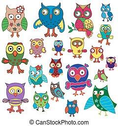 Set of twenty amusing colorful owls