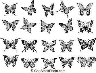 Set of twenty butterflies - Set of twenty ornate black and...