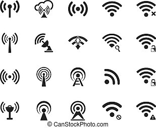 Set of twenty different black vector wi-fi and wireless...