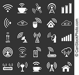 Set of twenty five different white vector wireless and wifi icons for remote access and communication via radio waves