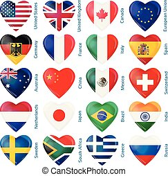 Set of twenty flags in heart shape. Popular countries.