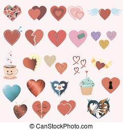Set of twenty four hearts