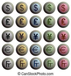 Set of twenty stylish buttons