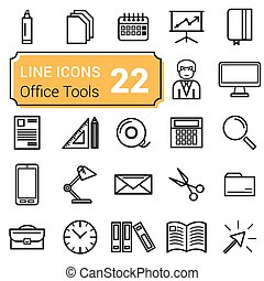 Set of twenty two icons linear