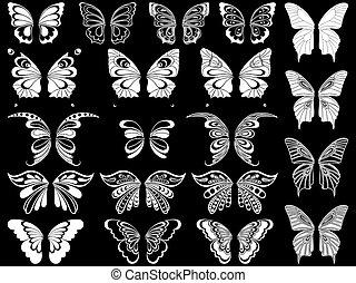 Set of twenty white butterflies over black