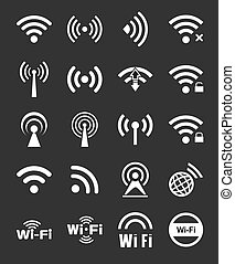 Set of twenty different white vector wireless and wifi icons for remote access and communication via radio waves