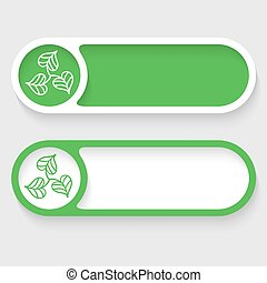 Set of two abstract buttons and leaves icon