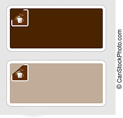 set of two abstract frame for text with cup of coffee